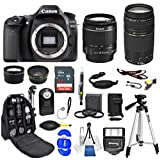 Canon EOS 80D DSLR Camera with 18-55mm STM + 75-300mm Double Lens (Black) (International Model) Backpack Bundle + 32gb Sandisk Memory + Tripod + Slave Flash + Remote + Much Much More
