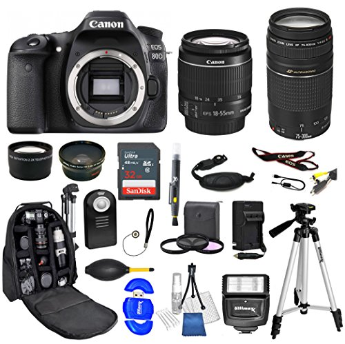 Canon EOS 80D DSLR Camera with 18-55mm STM + 75-300mm Double Lens (Black) (International Model) Backpack Bundle + 32gb Sandisk Memory + Tripod + Slave Flash + Remote + Much Much More by PhotoKing