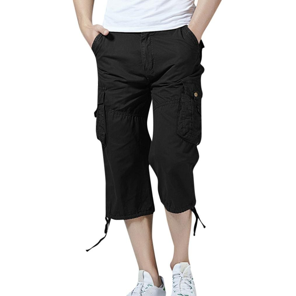 GoodLock Clearance!! Men's Casual Cargo Shorts Solid Outdoors Pocket Beach Work Trousers Pants (Black, Size:32)