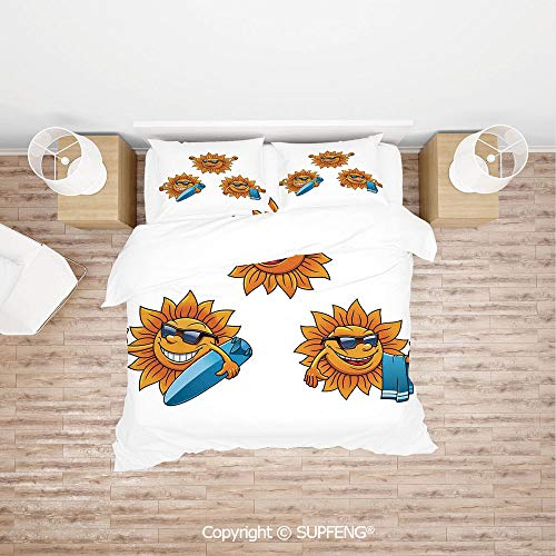 SCOXIXI 4 Piece Bedding Surf Sun Characters Wearing Shades and Surfboards Fun Hippie Summer Kids Decor Decorative (Comforter Not Included) Soft, Breathable, Hypoallergenic, Fade Resistant (Pottery Barn Kids Surf Bedding)