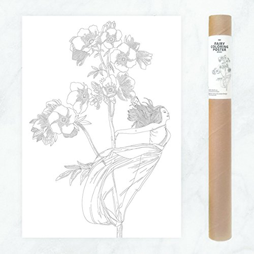 Magical Boho Fairy Coloring Page for Adults with Intricate Flowers to DIY Wall Art -
