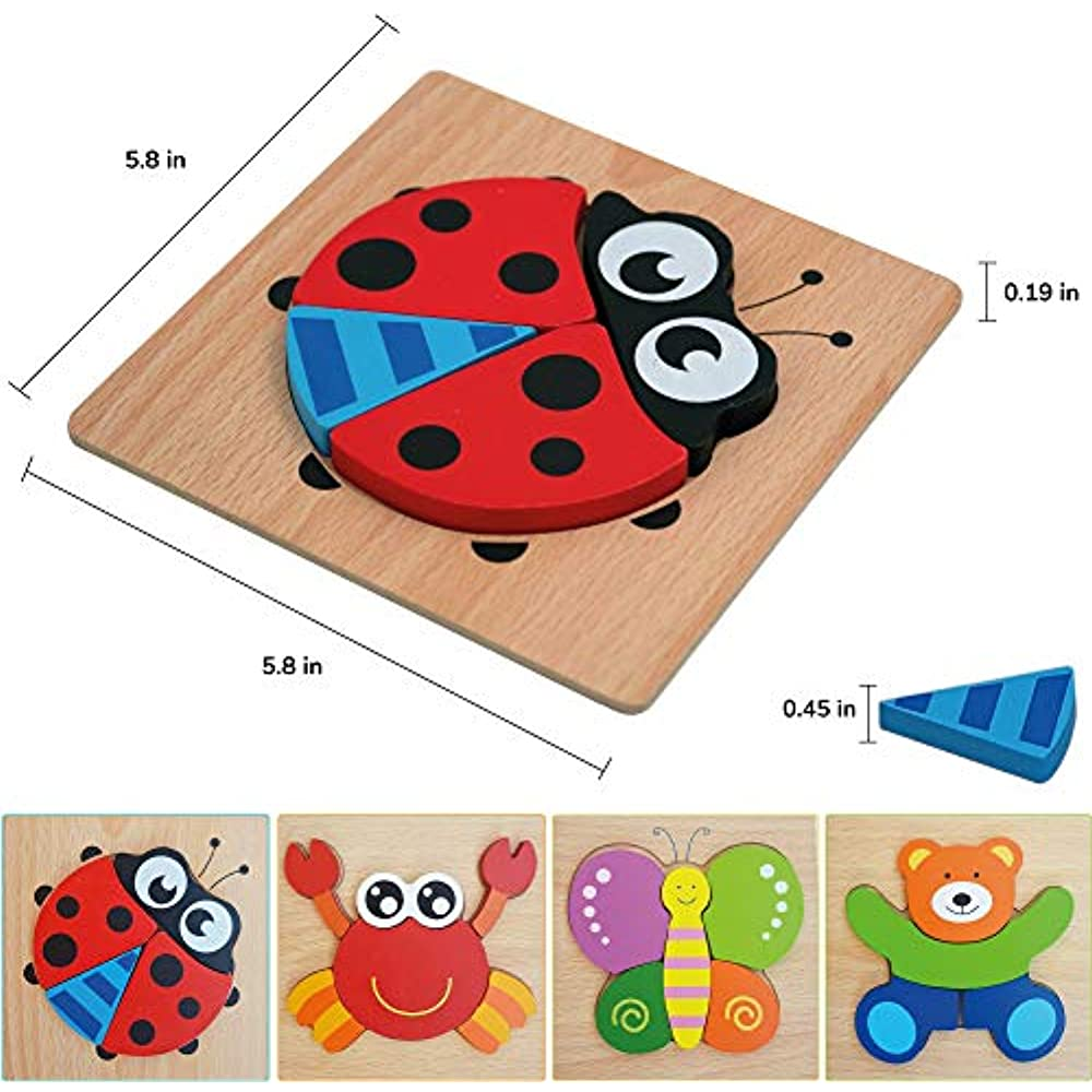 Wooden Jigsaw Puzzles For Toddlers, Educational Toy 1 2 3 ...
