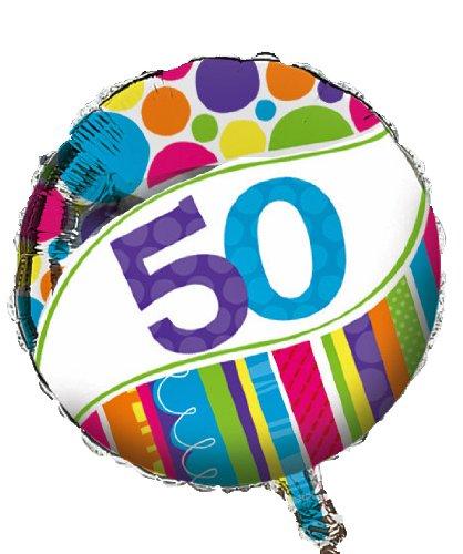 (Creative Converting Bright and Bold 50th Birthday 2-Sided Round Mylar Balloon)