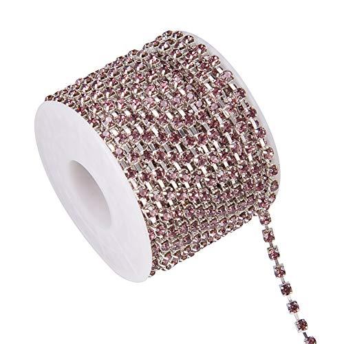 (BENECREAT 10 Yard Crystal Rhinestone Close Chain Clear Trimming Claw Chain Sewing Craft About 1440pcs Rhinestones, 3mm - Light Amethyst(Silver Bottom))