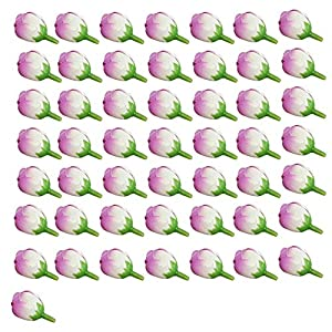 qiguch66 Artificial Flower for Decoration, 50Pcs 2cm Fake Roses Bud Artificial Flower Wedding Bride Bouquet DIY Party Decor - Purple 108
