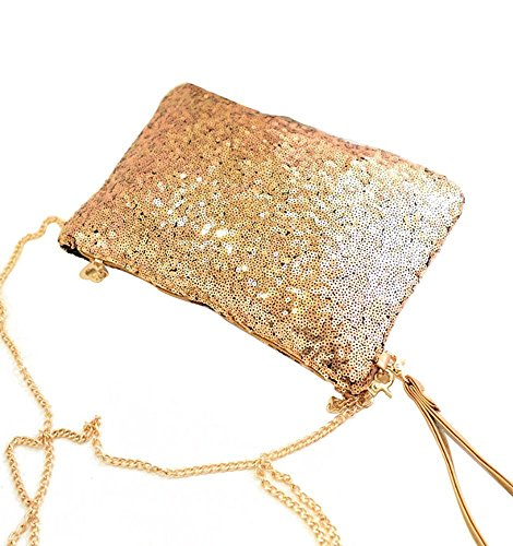 Envelope CC Gold Vintage Evening Clutch Purse Sequined Party Handbag CD qttygfH