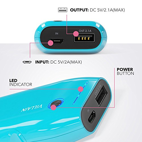Villain moveable electric power Bank Battery Charger 5000mAh principal LG Battery Cells Extra light in weight 120g thru smal Pocket Size swift Charging for 21 A LED Indicator Ergonomic develop Blue Solar Chargers