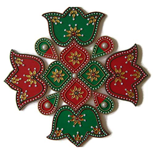 (9 Piece Multi Design Floor, Table or Wall Decoration Rangoli - Green & Red )