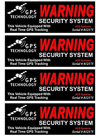 4 Set Indefectible Popular Inside Adhesive GPS Warning Security System Sticker Sign Window Surveillance CCTV Declare Size 4.5