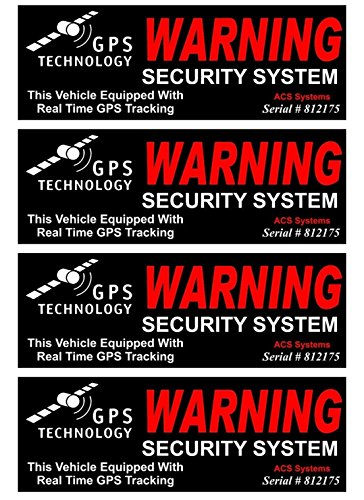 """4 Set Indefectible Popular Inside Adhesive GPS Warning Security System Sticker Sign Window Surveillance CCTV Declare Size 4.5"""" x 1.5"""""""
