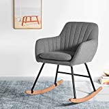 Grey Fabric Metal Rocking Chair Living Room Armchair