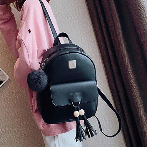 Schoolbag Casual Sac En Dos Daypack 3 Tassel Black Cuir à PU Noir Pack Femmes SzEq8ax