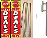 Stop Best Deals Here Giant Boomer Rectangle Flag ''3 ft x 12 ft'' Kit With Pole and Ground Spike - Pack of 2