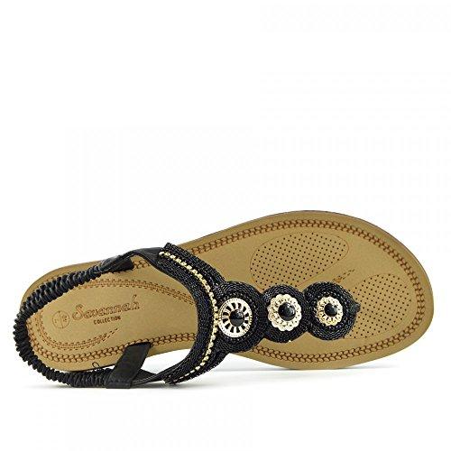 Kick Footwear - DAMEN FLACH GLADIATOR SOMMER STRAND FLIP-FLOP-URLAUB SANDALEN SCHUHE Schwarz-Modell No. 1