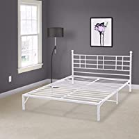 Best Price Mattress Model L Easy Set-up Platform Bed with Headboard, Queen, White