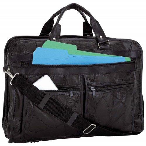 New Black Leather Messenger Laptop Shoulder Bag Briefcase Attache Case Portfolio from Maxam