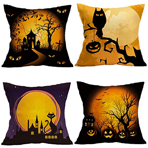 Halloween Pillow Covers Cotton Linen Black Cat Pumpkin Decorative Cushion Cover Pillow Cases for Home Car Sofa Couch 18 x 18 Inch Set of 4 (Owl Cat Pumpkin)