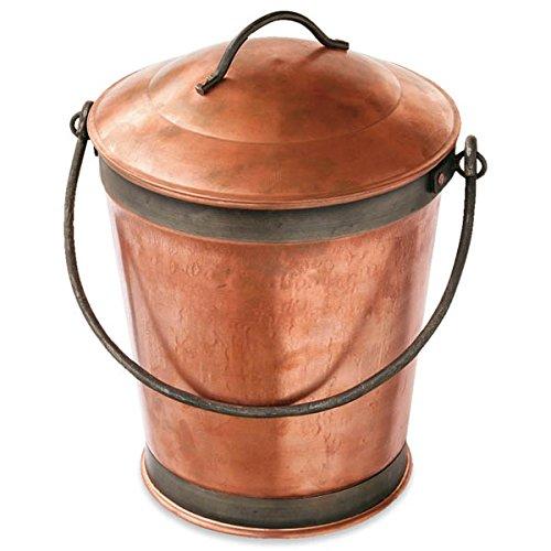 コッパーバケツ10リットル(直径26cm)[暖炉ストーブアクセサリー 銅製灰とりバケツ] B06XKDVMM3