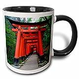 "3dRose""Japan, Kyoto Torii Gates In The Fushimi-Inari-Taisha Shinto Shrine"" Mug, Black, 11 oz"