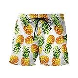 Honeystore Men's 3D Print Beach Boardshorts Tropical Design Swimming Trunks Pineapple M