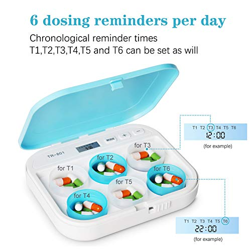 Medication Reminder, Pill Reminders, Up to 6 Times Per Day to Remind Taking Medication with No Errors, Loud Melody Alarm Medication Pill Dispensers and Reminder,Pill Organizer with Alarm