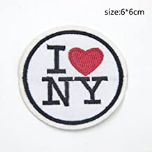 ESON I love New York NY United States US USA Logo Patch Jackets Bags Jeans Embroidered Red Heart Travel Tourist Iron-on Patch Embroidered Sew T-shirt Hat