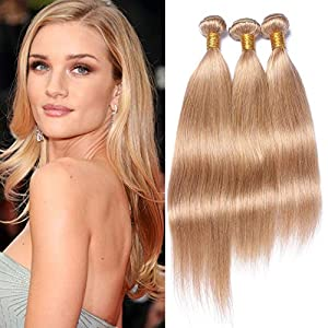 #27 Honey Blonde Brazilian Human Hair Weave Bundles 3Pcs 300Gram Strawberry Blonde Straight Virgin Hair Extensions…