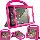 Surom Kids Case Built-in Screen Protector iPad 4, iPad 3 & iPad 2, Shockproof Convertible Handle Stand Case Cover iPad 2nd 3rd 4th Generation - Rose Pink
