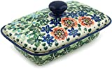 Polish Pottery 6½-inch Butter Dish made by Ceramika Artystyczna (Cornflower Dance Theme) Signature UNIKAT + Certificate of Authenticity