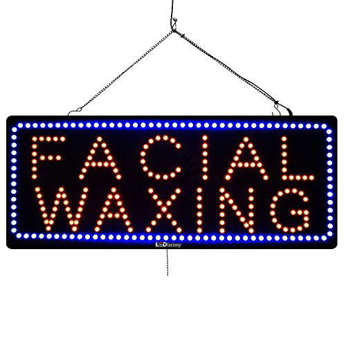 Large LED Window Open Sign - Facial Waxing - Extra Bright, Can be seen Through Tinted Windows - 13