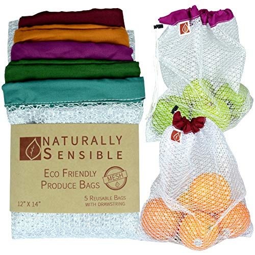 (The Original Eco Friendly See Through Washable and Reusable Produce Bags - Soft Premium Lightweight Nylon Mesh Large - 12x14in - Set of 5 (Red, Yellow, Green, Blue, Purple) |)