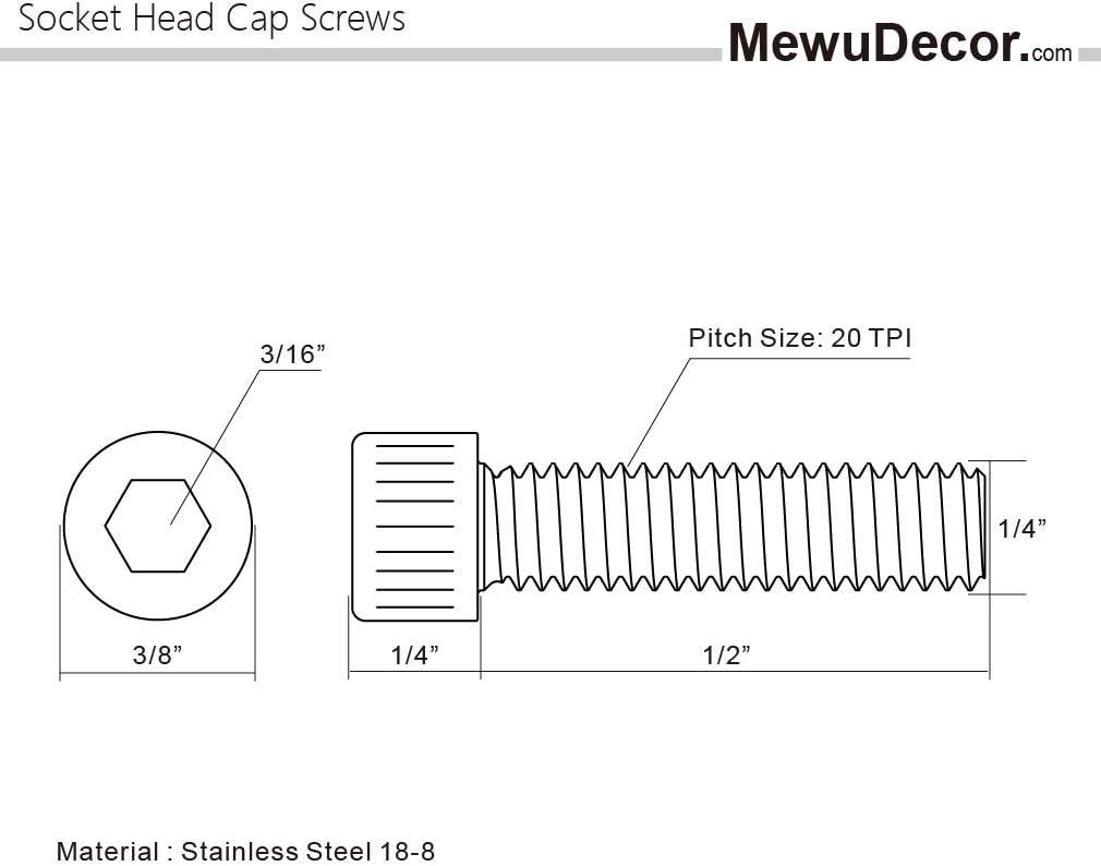 25 PCS Allen Socket Drive Stainless Steel 304 Full Thread 1//4-20 x 1-1//2 Socket Head Cap Screws Machine Thread Bright Finish
