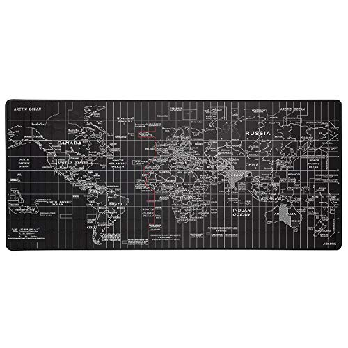 Black World Map with Time Gaming Mouse Pad Large Size 35.4 X 15.7X 0.12inches Desk Mouse pad with Personalized Design for Laptop Computer PC