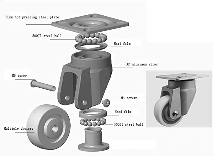 Cylficl Casters 4 PCS Duty Industrial Transport Casters 2 Inch 50 Mm 570 Lb Universal Rotary Brake Level Adjusting Silent Cart Long-Term Use Horizontal Adjustment Wheel
