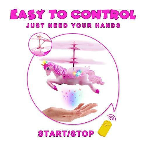 Flying Ball RC Unicorn Toys, Mini RC Flying Helicopter Unicorn Toy Gifts Hand Control Drones for Kids Boys Girls Flying Fairy Unicorn Doll Hovering Aircraft Outdoor Flying Toys Games Birthday Gift by Synmila (Image #2)