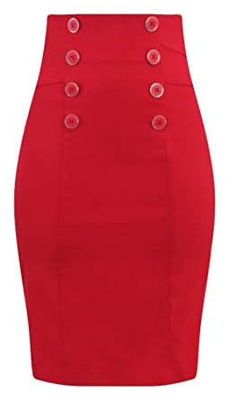 f8d1b0525a Double Trouble Apparel High Waisted Pin Me Up Pencil Skirt In Red at ...