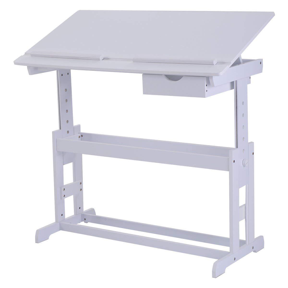 COSTWAY Escritorio para Niños Habitación Muebles Mesa de Lectura para Infantil con Cajón ángulo y Altura Ajustable (Blanco)