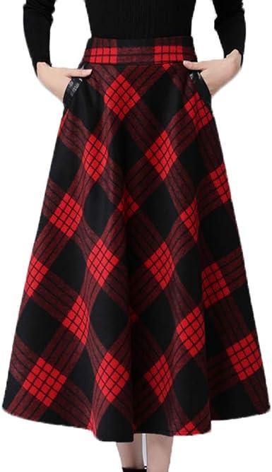 HGDR Falda con Cuello Redondo De Lana A Cuadros Negro Rojo para ...