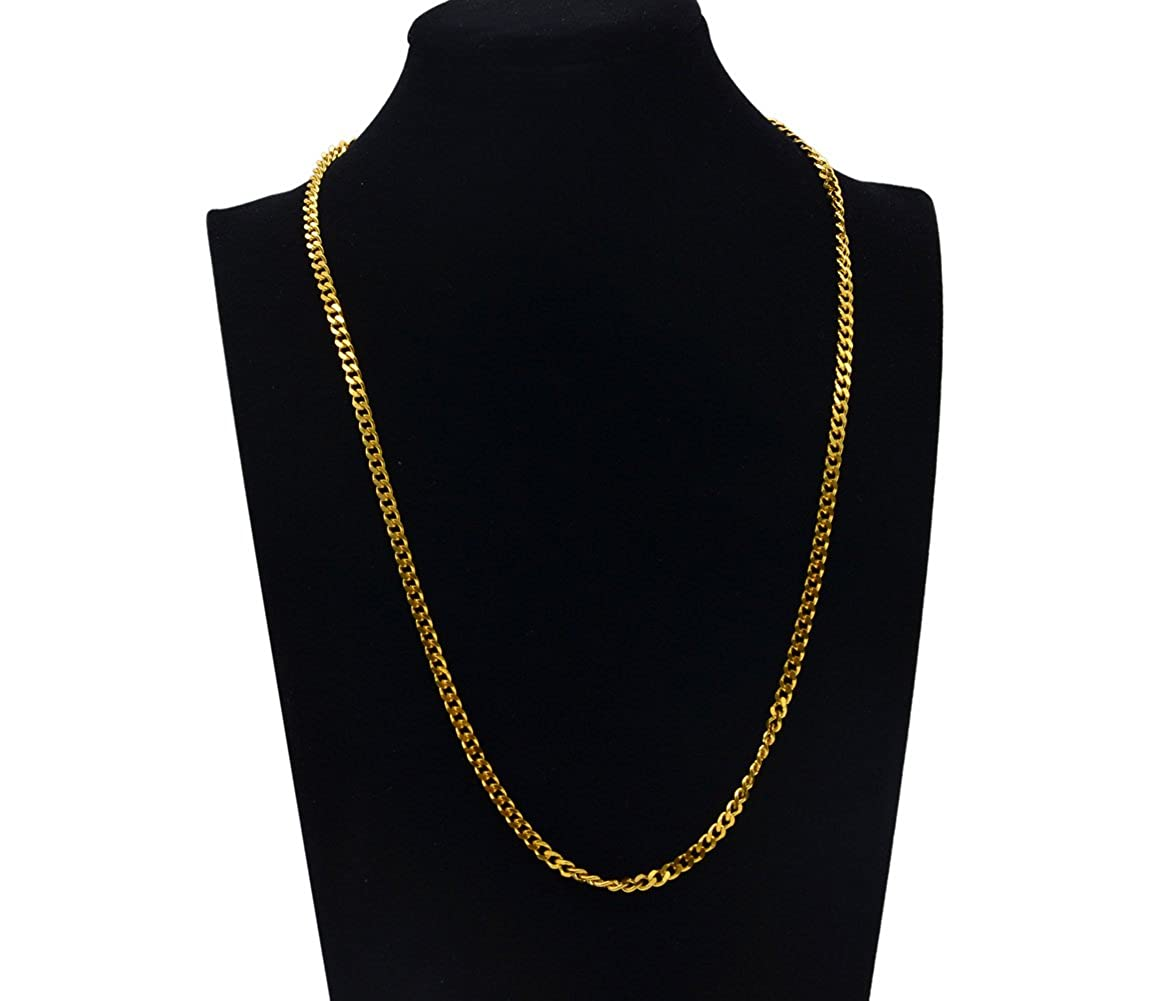 Aplstar Solid Gold Curb Chain Necklace 2mm thick 18ct Real Gold Plated Size: 16 18 20 22 24 inch/40 45 50 55 60 cm ogOeeMo