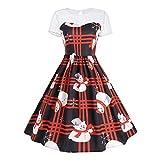 Where to Buy Shower Curtains Sunyastor Women Retro Dresses, Short Sleeve Christmas Print Swing Dress Lace Vintage Santa Claus A-Line Dress