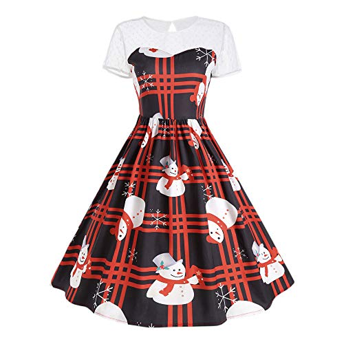 Clearance FEDULK Christmas Women's Short Sleeve O Neck Lattice Snowman Printing Sexy Vintage Evening Party Dress(Medium,Red ) ()