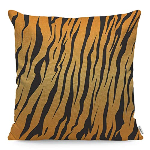 - WONDERTIFY Throw Pillow Case Cover Stripe Animals Jungle Tiger Fur Texture Pattern Repeating Yellow Orange Black-Soft Linen Pillow Case for Boy Girls Bedroom/Livingroom/Sofa Cushion Covers 18x18 Inch