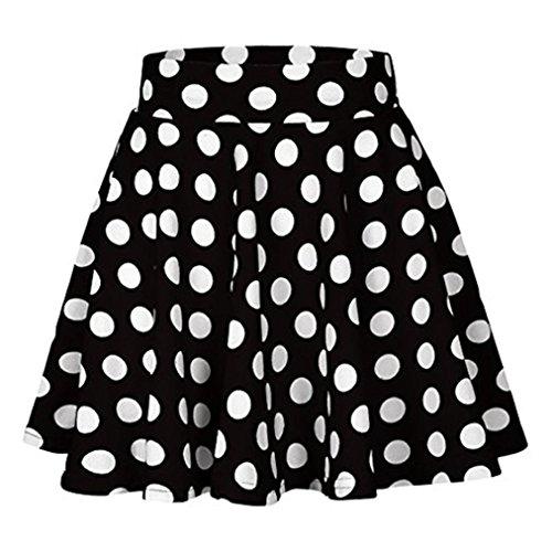 Sixcup Femme Mini Jupe Dot Imprim Robe Polka Dots Imprim Taille Haute Mode Casual Filles Jupe Cocktail Party Blanc