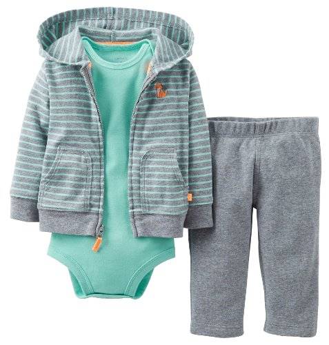 Carter's Baby Boys' 3 Piece Cardigan Set (Baby) - Heather/Green - Heather - 12 Months