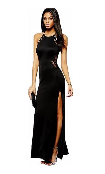 00465b598904 Mela Proibita - Sexy vestito NERO donna abito lungo spacco laterale  provocante sexi elegante hot -