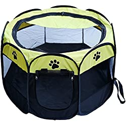 Machao Pet Foldable Exercise Kennel Dogs Cats Rabbits Pigs Indoor/outdoor Removable Tent Playpens Mesh-Green