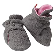 Zutano Booties Girls Cozie Fleece Baby Bootie Warm Slipper Socks Grey Pink 12M