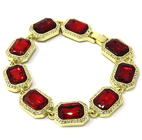 Men's Red Ruby Gold Plated Iced Out Rubies Hip Hop Stone Bling Bracelet 9