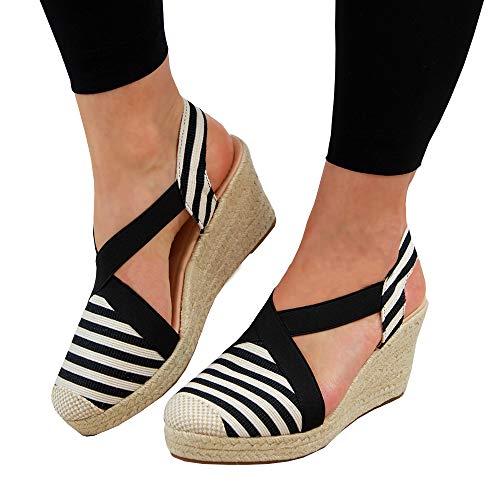 FISACE Womens Cap Toe Elastic Band Criss Cross Platform Wedge Sandal Slingback Strappy Espadrilles Shoes -