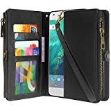 Cheap Google Pixel 2 XL Case, Linkertech Premium Leather Flip Zipper Wallet Case Cover with Stand Feature & Card Holder & Wrist Strap for Google Pixel 2 XL (2017) (Black)